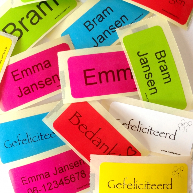 Sticker Teksten Bestellen.30 Stuks Stickers Met Uw Eigen Tekst Diverse Kleuren Stickers