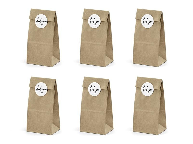 6 papieren zakjes bruin (inclusief stickers) - papieren zakjes